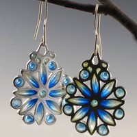 Sterling silver snowflake earrings enameled in icy blue