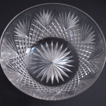 American Brilliant Period Cut Glass finger bowl strawberry diamond Antique
