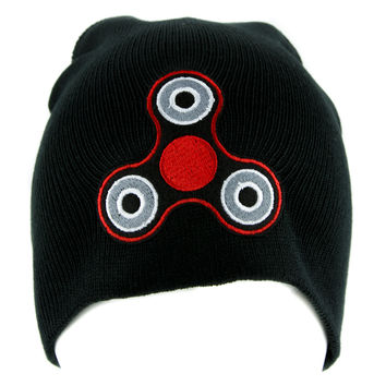 Red Fidget Spinner Beanie Knit Cap Alternative Clothing Stress Relieving Toy Style