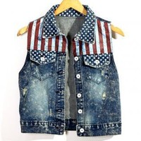 Retro American Flag Washed Denim Vest with Star Collar