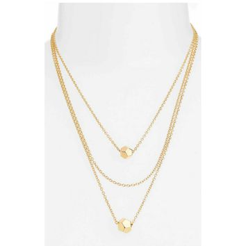 Rebecca Minkoff Cube Multichain Station Necklace, Gold or Silver tone