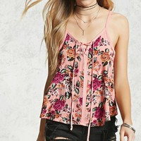 Rose Print Lace-Up Cami