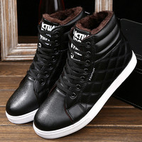 Men's Winter Casual Lace-up Breathable Flat High Top Warm Velvet Genuine Leather Shoes