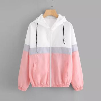Trendy FeiTong Jackets Elastic Hem Drawstring Jacket Zipper Pocket Women Casual Autumn Hooded Biker Coats Windbreaker Sporty Outerwear AT_94_13