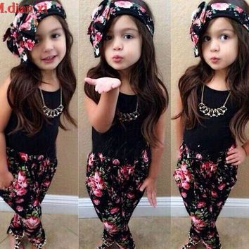 3pcs Toddler Infant Girls Outfits Headband+T-shirt+Floral Pants Outfit Kids Summer Clothes Set 2-5Y