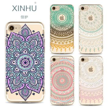 XINHU For Apple Iphone X case Painted Mandala Tpu Phone shell For iPhone 6 6s 6plus 7 7plus 8 8plus Ultra thin cover phone sell