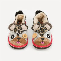 Tigerbear Republik Beastie Besties Womens Slippers Leopard  In Sizes