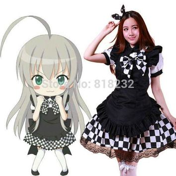 LMFON Yasaka Nyaruko Lolita Apron Maid Dress Meidofuku Uniform Outfit Cosplay Costumes