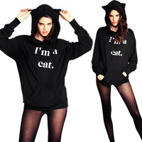 2016 Korea Black Fluffy Cat Ear Women Hoodies with Hood Warm Long sleeve Sweatshirt Casual Cute Outwear sudadera mujer
