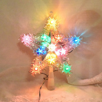 Christmas 11 Lighted Star Tree Top Vintage Working 11 Blinking Multi Color Light Star Topper Silver Tinsel Holiday Decoration Original Box