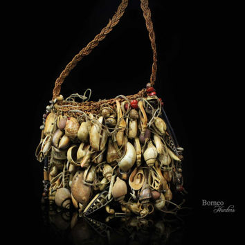 Bilum Bag Papua New Guinea Vintage Tribal Ceremonial Bag Mixed Shells, Teeth,Seeds, Beads, Bone Collectible Oceanic Art