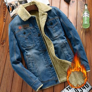 Trendy Winter Cowboy Blue Jacket Men Denim High Quality Fleece Thick Warm Fashion Casual Cotton Coat Warm Parka Zipper Plus Size 4XL AT_94_13