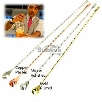 450mm Stainless Steel Cocktail Mixing Spoon Teardrop Bar Spoon Spiral Pattern Bar Cocktail Shaker Spoon