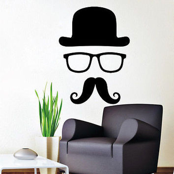 Wall Decal Barber Shop Mustache Hat Glasses Decals Boy Salon Decor Sticker MR789