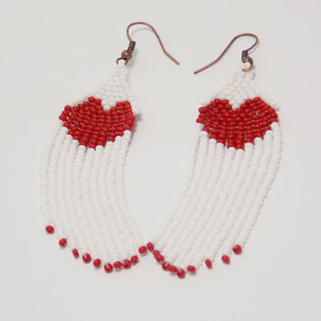 Valentines day gift for her Red white heart earings love jewelry dangle girlfriend women minimalist budget handmade bib earrings long tassel