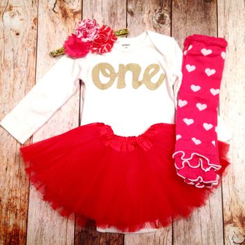 Headband Valentines's Day fuchsia Legwarmer red tutu Leg Warmers, long sleeve gold glitter one Onesuit- red headband- girls 1st Birthday outfit- girls first birthday