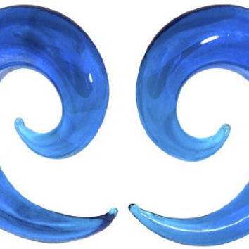 00 Gauge (10 mm) Blue Ocean Wave Curved Spiral Glass Tapers