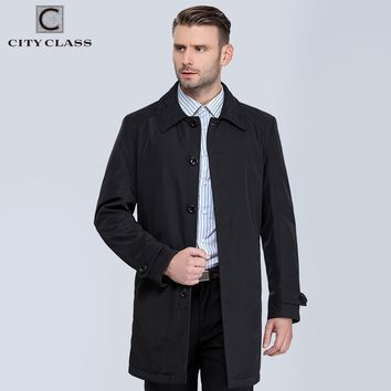 CITY CLASS New Mens Autumn Coats Fashion Casual Classic Trenchs Fit Turn-down Collar Jackets Coats Free Shipping For male 1061-1