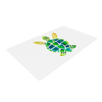 "Catherine Holcombe ""Turtle Love"" Green Teal Woven Area Rug"