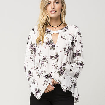 FULL TILT Romantic Floral Womens Top | Blouses