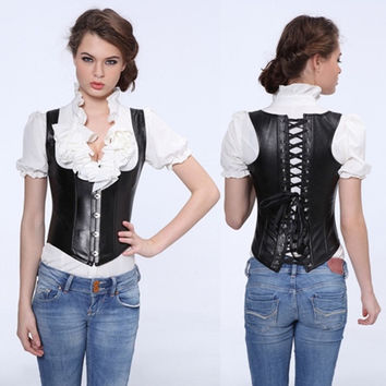 Hot Sales Sexy Gothic Black Punk Faux Leather Boned Corset Underbust Corselet Bustier Showgirl Outwear G-string Plus Size S-6XL = 1958470404