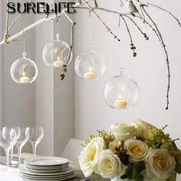 10pcs High Quality Clear Glass Round Terrarium Flower Plant Stand Hanging Vase Hydroponic Home Office Wedding Garden Decor