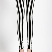 Black and White Striped Leggings