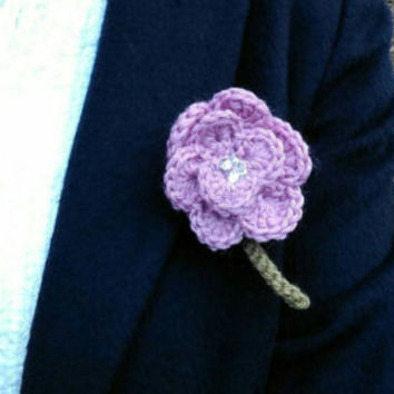 Crochet Rose Brooch, Lilac Flower brooch,  diamantes, yarn flower, mother's day gift, Valentine gift, for mum, Ready to ship from UK