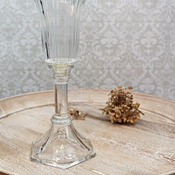 Vintage 1970s Pedestal + Glass Candle Holder