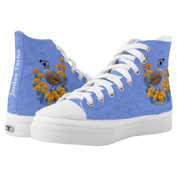 California State Bird Quail & Golden Poppy Printed Shoes