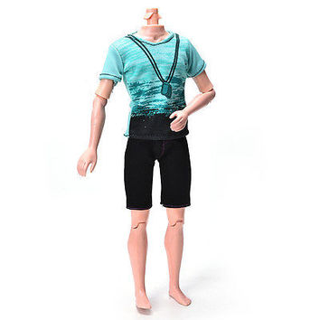 Green T-Shirt Suit for Ken Doll Barbie Cloth Black Short Pants Fashionable HU