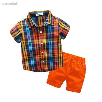 Baby Boy Plaid Shirt Top Tee+Orange Shorts Casual Outfit  3-8Y