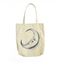 Crescent Moon Tote Bag, Canvas Tote Bag, Moon Bag, Moon Illustration, Tote Handbag, Gift For Women, Womens Fashion, Womens Gift, Girl Gift