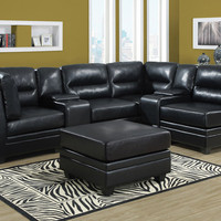 Black Bonded Leather Corner Unit