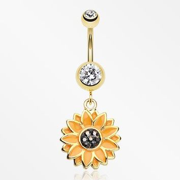 Golden Beach Sunflower Belly Button Ring