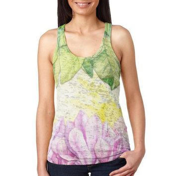 ESBGQ9 Mardi Gras French Quarter Magnolias at Sunrise Juniors Burnout Racerback Tank Top