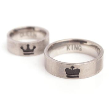 SkyHai King And Queen Couple Rings Stainless Steel Crown Rings For Couples Lovers Forever Love Promise Rings For Men Women
