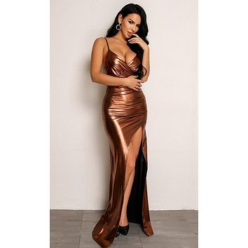 Liquid Metal Bronze Metallic Sleeveless Spaghetti Strap Cross Wrap V Neckline Asymmetric High Slit Maxi Dress