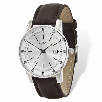 Mens Chisel Stainless Steel Silver Dial Brown Leather Watch