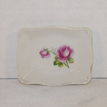 Rose Pin Dish Vintage Miniature Hand Painted Plate Made in Japan Rose Dresser Vanity Trinket Tray Jewelry Tray Shabby Chic Pin Dish