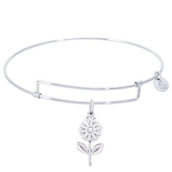 Sterling Silver Pure Bangle Bracelet With Daisy Charm