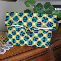 Foldover Makeup Pouch, Padded Kindle 3 Clutch, Purse Bag Bridal Party Bridesmaid Gift Wedding Accessory Travel Navy Lime, Ready to ship