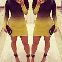 Black and Yellow Color BlackLong Sleeve Bodycon Dress