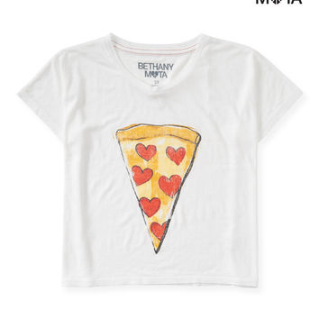 Aeropostale Womens Pizza Boxy Graphic T-Shirt - White,