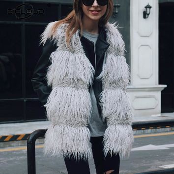 Chic 2017 Autumn Winter Outfits Faux Fur Vest Women Fluffy Sheep Fur Gilet Waistcoat Thicken Warm Sleeveless Fur Jackets Coats