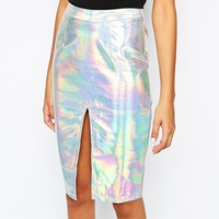 Lola May Holographic Pencil Skirt with Front Split