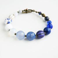 Blue White Beaded Bracelet Europeanstreetteam Cobalt Royal Blue Bracelet  Floral Bracelet