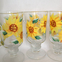 Coffee Mugs/ Tea Cups  Hand Painted with Sunflowers Great for Mothers day