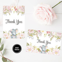 Watercolor Floral Thank You Card, Printable Thank You Card 6x4, Custom Thank You Card, Baby Shower Printable, Thank you Note, Digital Print