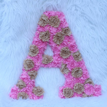 "Pink & khaki shabby chic 18"" letter A, baby girls first birthday prop letter A, shabby chic decor girls toddler room, wooden letter A pink"